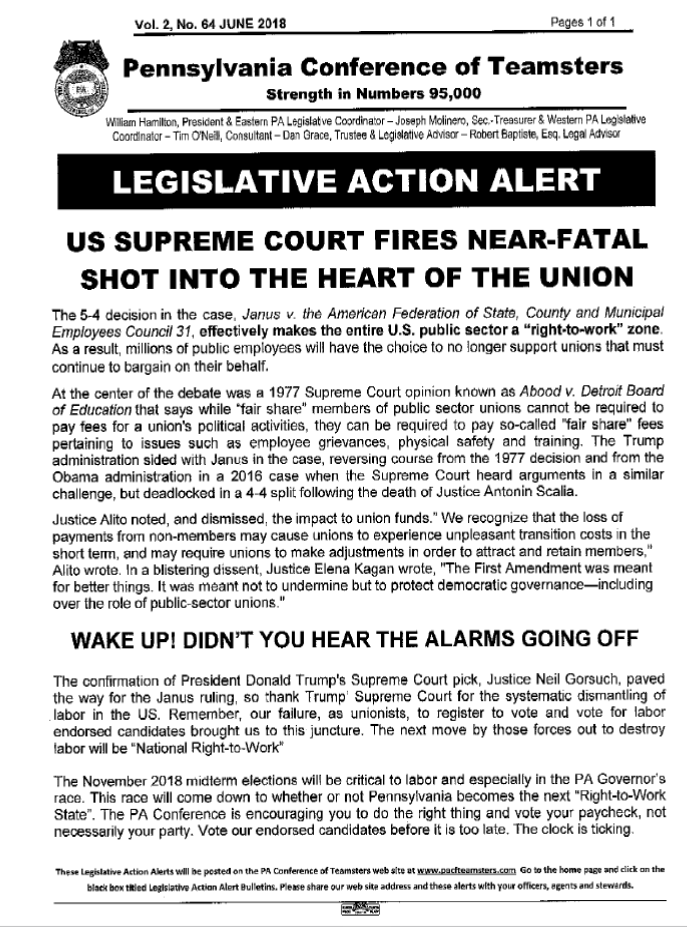 Legislative Action Alert From Mac >> Teamsters Local 830 News